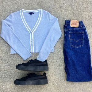 Tommy Hilfiger gray button up sweater crop top